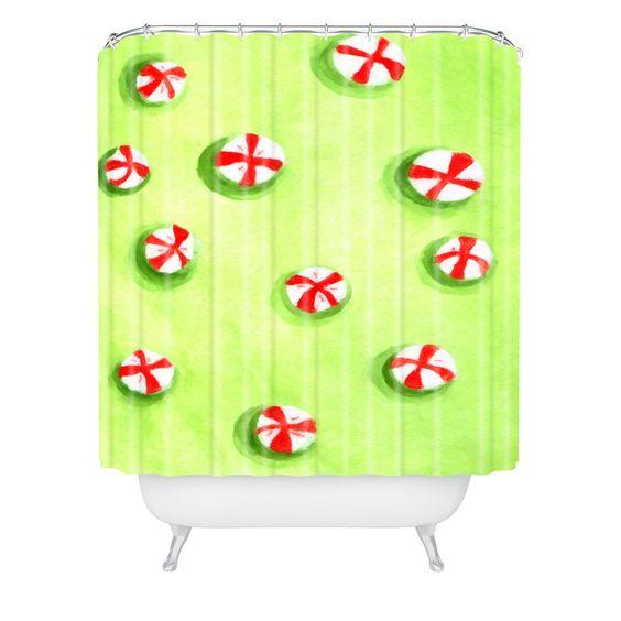 Rosie Brown Christmas Candy Shower Curtain | DENY Designs Home Accessories #shower #curtain #bathroom #homedecor #christmas #art #children #denydesigns