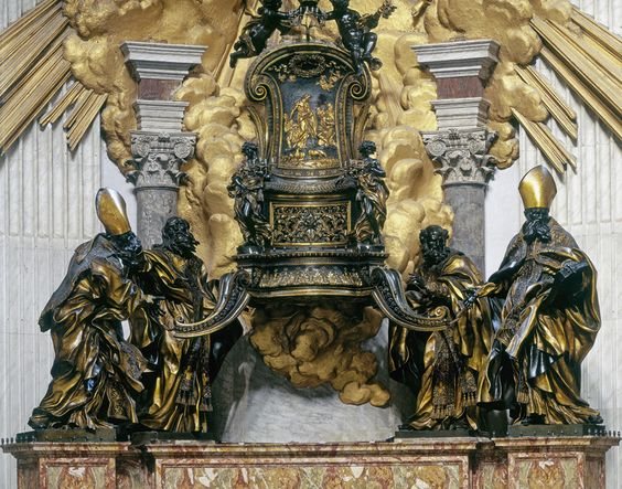 """Gian Lorenzo Bernini, Chair of Saint Peter    """"Bernini's chair is empty because it is more important than its transient, mortal occupants."""" —Camille Paglia, Glittering Images"""
