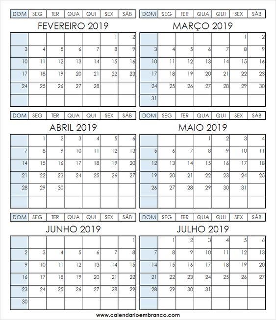 Calendario 2019 Fevereiro A Julho Com Feriados Fevereiro Julho