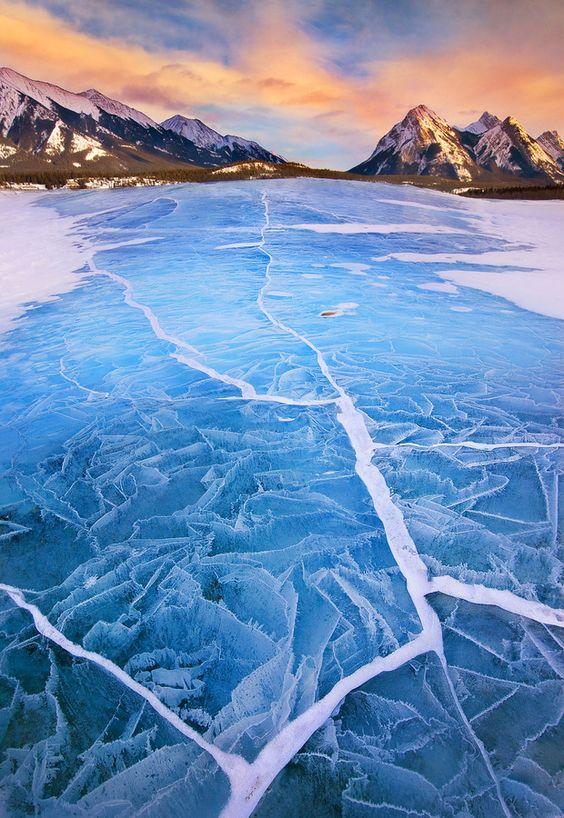 Surreal ice cracks on lake Abraham, Alberta, Canada