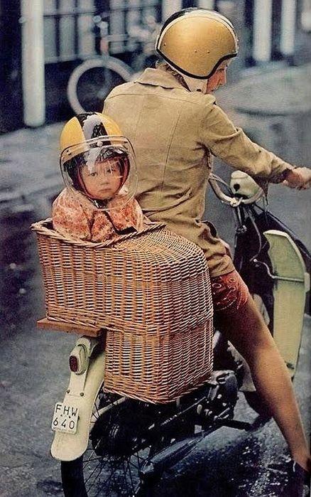 safety first, vespa, basket, commute, helmet, urban, transportation, city, parenting,