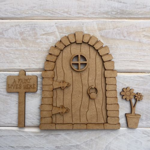 3d mdf wooden fairy door craft kit plain blank ready to for Wooden fairy doors