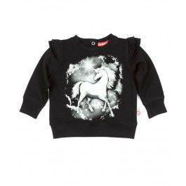 Unicorn Print Frill Sleeve Sweater