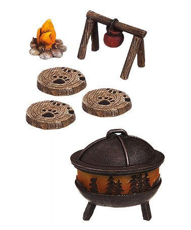 Another great find on #zulily! Six-Piece Camping Fire Pit Garden Figurine Set #zulilyfinds