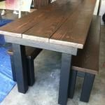 Espresso stained table and bench top. Black base and legs.