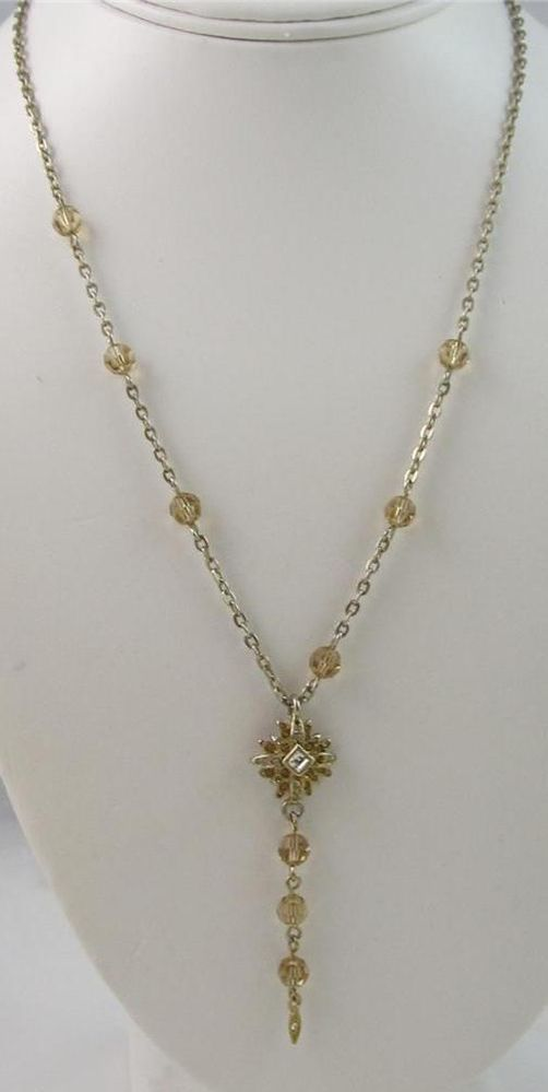 Vintage Signed GRAZIANO Delicate Star Rhinestone Crystal Dangle Necklace