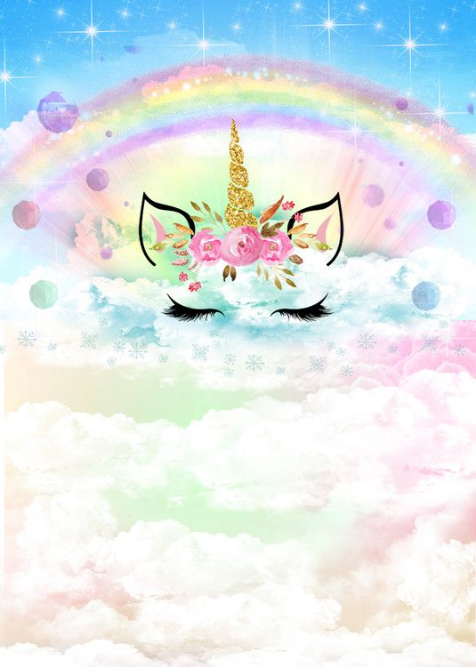 Unicorn Photography Backdrop For Theme Party Decoration Rainbow