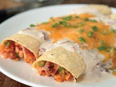 Sweet Potato Enchiladas in Creamy Chipotle Sauce recipe - totally making this for dinner tomorrow!