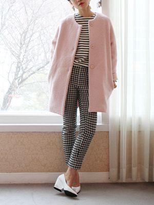 Pastel color coat style with stripes and gingham, freckle seoul: