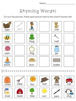 math worksheet : kindergarten cut and paste activities  activities numbers and  : Rhyming Worksheets For Kindergarten Cut And Paste