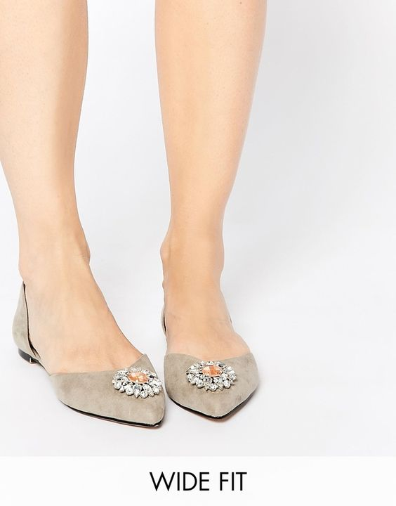 Click To Buy These Taupe Wide Fit Embellished Ballets. #flats #wedding #bridal