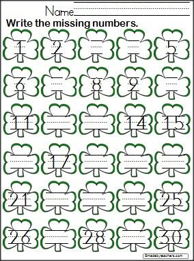 Common Worksheets counting to 30 worksheet : Students write the missing numbers 1 -30 on this FREE clover ...
