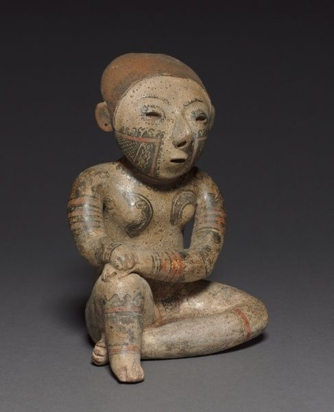 Seated Female Figure c. 100 BC-AD 300 Mexico, Nayarit, Chinesco Style earthenware with burnished, colored slips and resist patterning  h:23....: