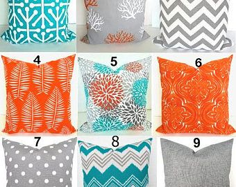 Sale Teal Pillows Turquoise Outdoor Pillow Covers Teal Orange Grey Throw Pillow Covers Turquoise Gray 18x18 20x2 Teal Throw Pillows Teal Pillows Orange Pillows