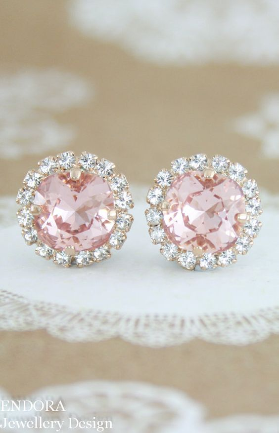 Petite Blush earrings - only 15mm diameter | blush wedding | rose gold wedding | blush and gold | bridesmaid earrings | bridal earrings | Swarovski blush | www.endorajewellery.etsy.com