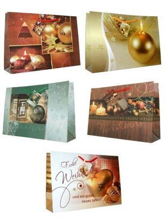 Geschenktaschen Gr. L Querformat mit Weihnachtsmotiven 5-fach sortiert 10 Stück
