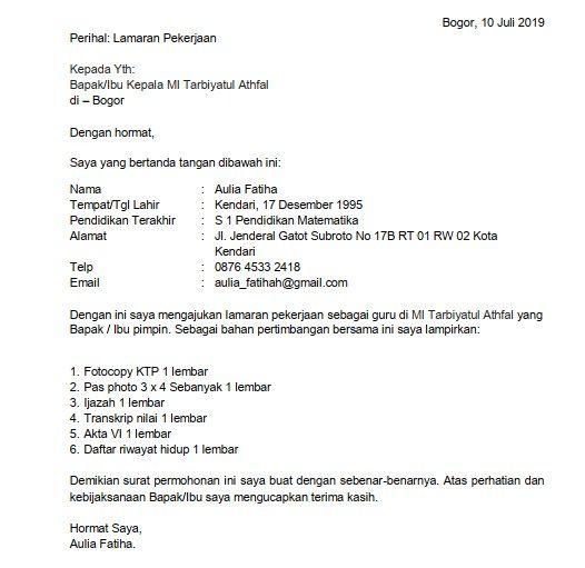 Contoh Surat Lamaran Kerja Guru Mi Kepala Sekolah Matematika Pimpinan
