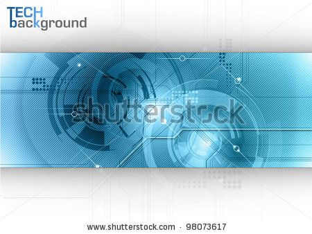 stock vector : Blue tech background with shining abstract objects