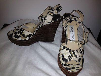 Jimmy Choo Wedge Sandals in Animal Print Worn Once