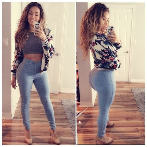 High waisted jeans by #americanapparel Floral Jacket by Zara and ...
