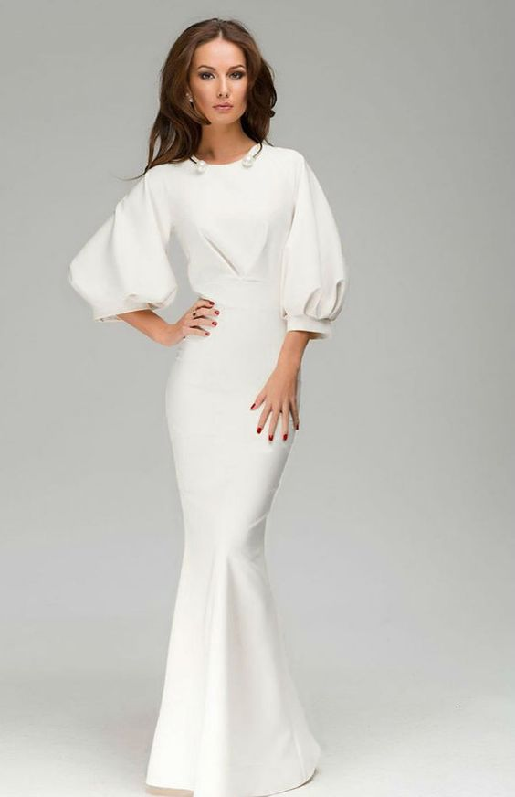 Chic beautiful long dress, ivory ,gown skirt with ruffles and short sleeves.-This gown for your special day,be worn on numerous occasions such as