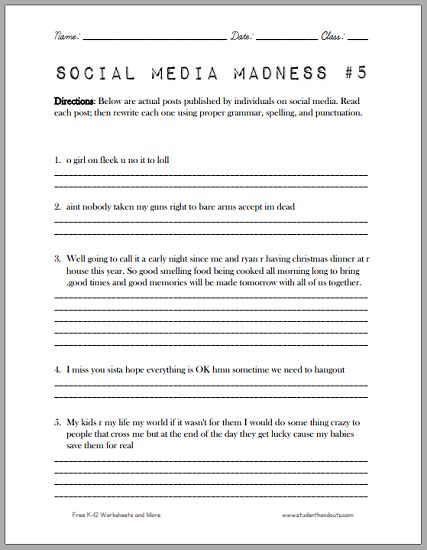Printables High School Grammar Worksheets posts student and high schools on pinterest social media madness worksheet another fun which asks school students to correct facebook twitter for grammar spelling
