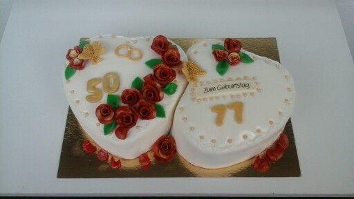 Goldene Hochzeit und Geburtstags Torte  Gabi goldene Hochzeit ...