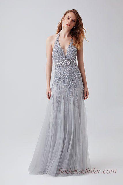 2019 Abiye Elbise Modelleri Gri Uzun Kolsuz V Yakali Tas Islemeli Tul Etekli The Dress Elbise Elbise Modelleri