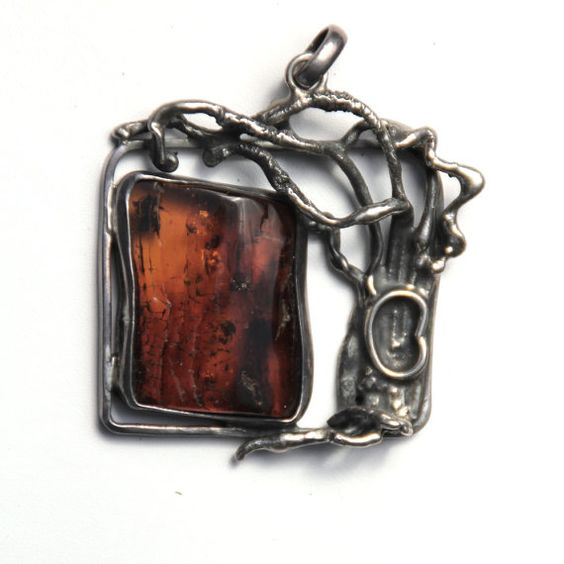 Baltic Amber Pendant with Insects Sterling by SterlingSelection, $250.00