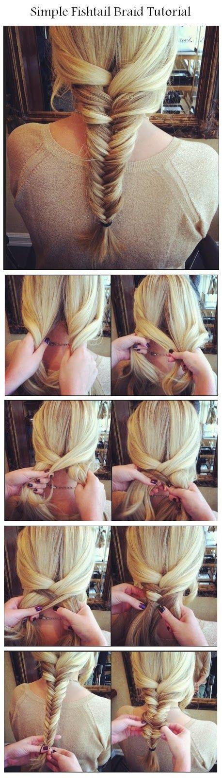 SO queria poder trançar meu próprio cabelo, amo esse olhar ... Faça um simples Fishtail Braid | penteados tutorial