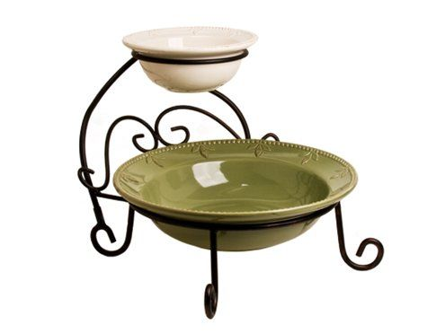 Green and Ivory Serving Bowls in Caddy