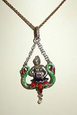 ANTIQUE AUSTRO HUNGARIAN MERMAID PENDANT ENAMEL PEARL GOLD ROPE CHAIN LAVALIER