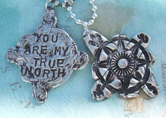 Silver Compass Necklace, You Are My True North, in Eco Friendly Reclaimed Fine Silver And Sterling Silver, His and Hers Pair Gift Set. $190.00, via Etsy.