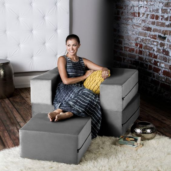 With its 3-tiered multi-functional design, the Zipline chair can transform quickly and easily. Lounge in its chair form and prop your feet up on the ottoman, stack the ottoman inside to form barstool or game table, or unfold it into a Twin-size bed.