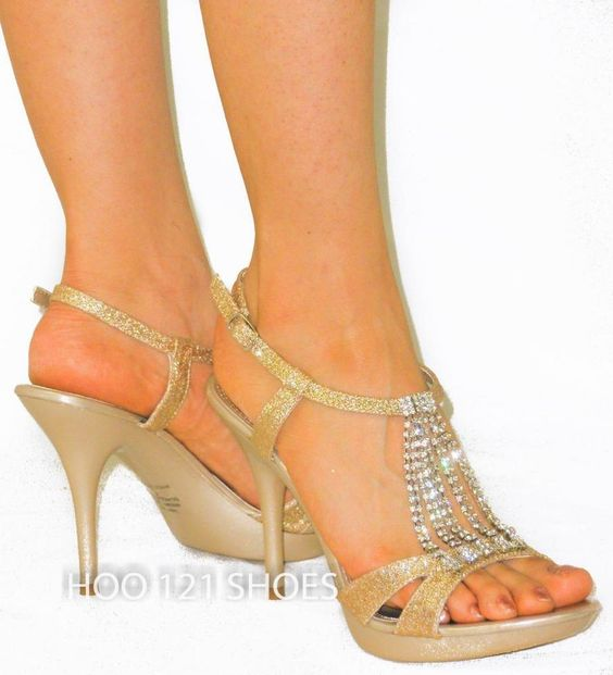 Glitter Rhinestone Chandelier *Strappy Sparkle Sandals Platform Heels BEIGE 8.5 #DeBlossomCollection #Strappy