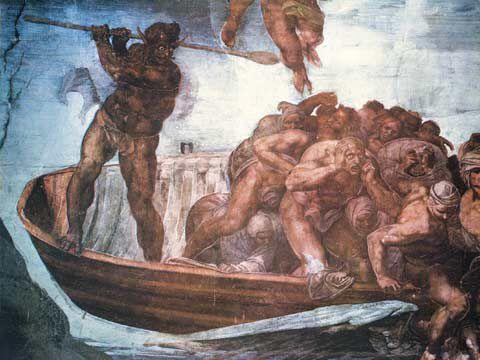 Caronte, barqueiro infernal de Dante, espancando com um remo um grupo de passageiros que havia se dispersado.