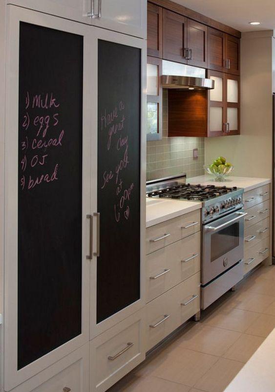 tableau noir sur les portes de l'armoire de votre cuisine