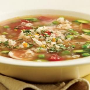 Spring Chicken & Barley Soup  You might think of barley as an addition to hearty, wintery soups, such as mushroom-barley or beef-barley soup, but it also works well in lighter soups like this one with chicken, asparagus and peas.  @eatingwell #spring
