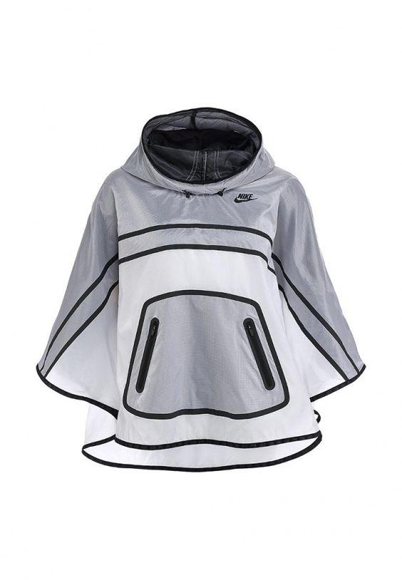 Дождевик Nike / Найк женская. Цвет: белый, серый. Сезон: Весна-лето 2014. С бесплатной доставкой и примеркой на Lamoda. http://j.mp/1nsslft