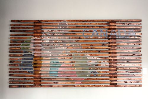 Slatted wood wall art