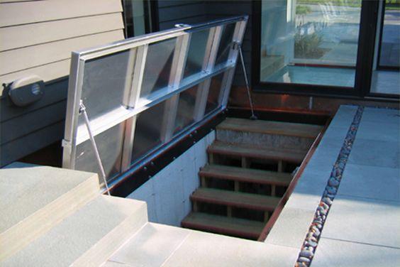 Doors glasses and basements on pinterest for Exterior basement access doors