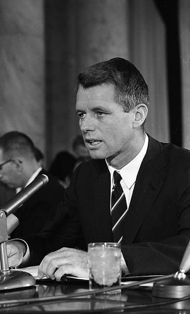 Attorney General Robert Kennedy testifying Senate Subcommittee hearing.