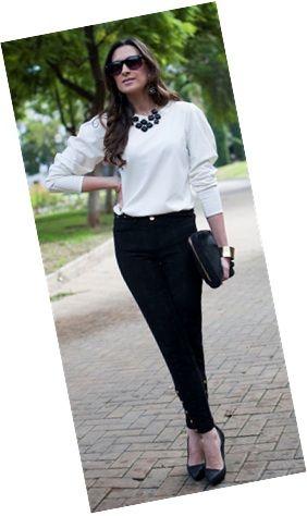 00_Looks de trabalho_looks femininos_Looks para entrevista de emprego_Calça preta_blusa branca_maxicolar preto