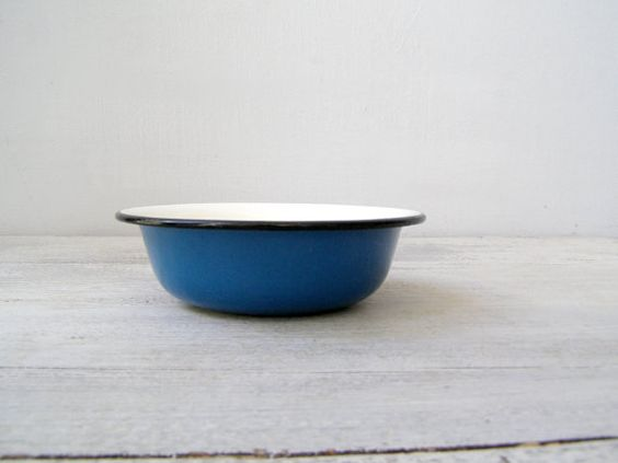 Soviet enamel Blue soup Bowl Vintage Rustic farmhouse by MeshuMaSH