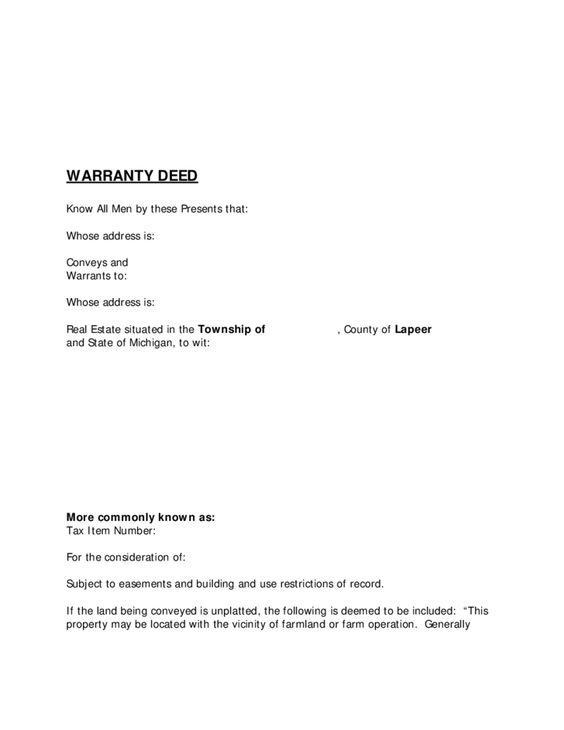 Pin by Bob on Warranty Deed Michigan Pinterest - quit claim deed pdf