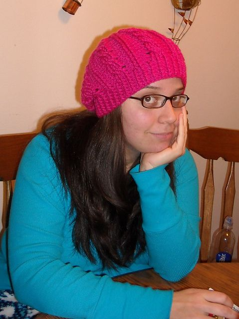 Ravelry: Pink Cabled Slouch