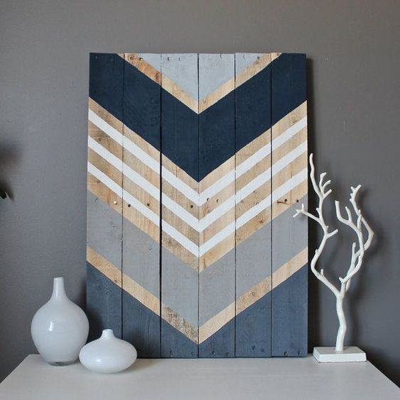 Modern Chevron wood wall art sign by SamBeeDesigns on Etsy