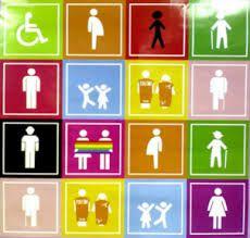 Modelo diferencialista: En la imagen podemos ver diversas diferencias, el modelo diferencialista se enfoca en incluir a todos sin importar cual sea la diferencia (religión, género, edad, discapacidad, preferencias)