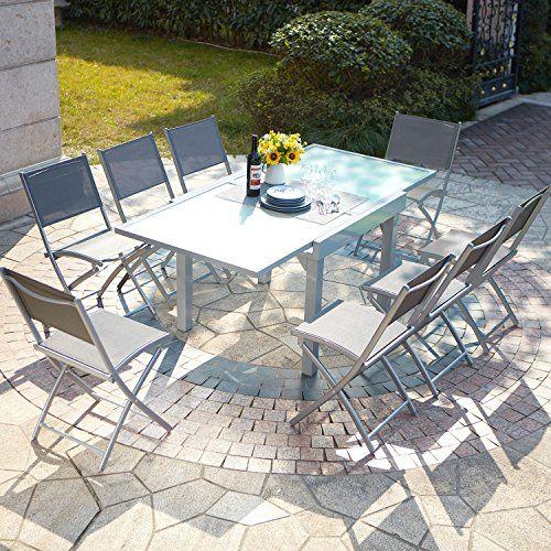 Mon Usine Discount Le Filomena Salon De Jardin Extensible Table En Aluminium Et 8 Chaises Table De Jardin Chaise Salon De Jardin Ensemble Table De Jardin