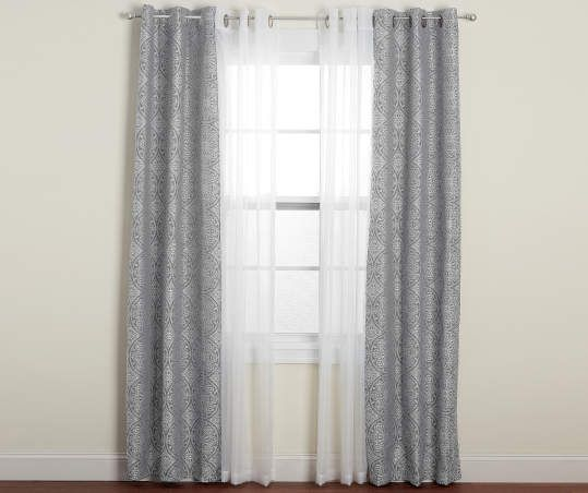 Living Colors Gray Suzani Embroidery Sheer Voile Curtain Panels